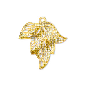 drop, lazer lace™, gold-finished brass, 25x24mm fancy leaf. sold per pkg of 20.