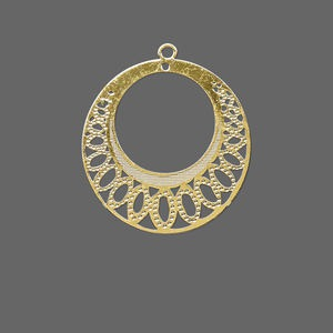 drop, lazer lace™, gold-finished brass, 26mm round go-go with ovals. sold per pkg of 20.