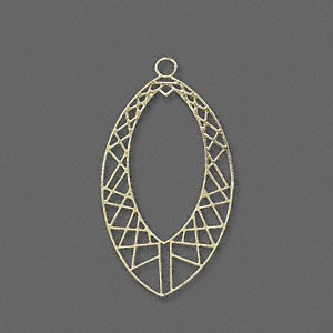 drop, lazer lace™, gold-finished brass, 29x17mm fancy open marquise. sold per pkg of 20.