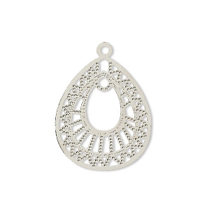 drop, lazer lace™, silver-plated brass, 23x20mm teardrop with loop. sold per pkg of 20.