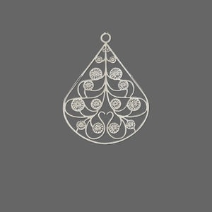 drop, lazer lace™, silver-plated brass, 24x20mm fancy pear. sold per pkg of 20.