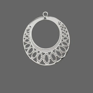 drop, lazer lace™, silver-plated brass, 26mm round go-go with ovals. sold per pkg of 20.