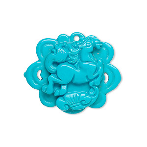 drop, magnesite (dyed / stabilized), blue, 29x24mm hand-cut flower with carved horse, b grade, mohs hardness 3-1/2 to 4. sold individually.