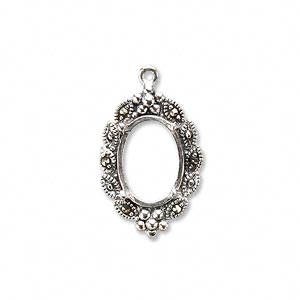 drop, marcasite (natural) and sterling silver, 22x15mm oval with 14x10mm 4-prong oval setting. sold individually.