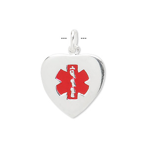 drop, medical alert id, sterling silver and enamel, red, 18x18mm heart. sold individually.