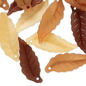 drop mix, acrylic, translucent frosted orange / brown / light brown, 26x10mm leaf. sold per pkg of 120.