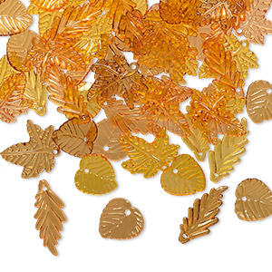 drop mix, acrylic, transparent yellow / orange / brown, 15x15mm double-sided round leaf / 21x20mm double-sided oak leaf / 25x11mm double-sided long leaf. sold per 1/8 pound pkg, approximately 250 drops.