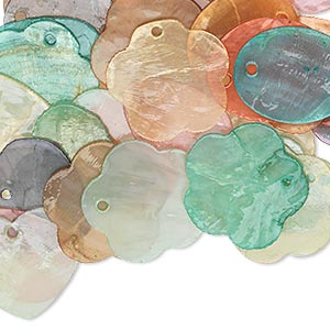 drop mix, capiz shell (dyed / coated), mixed colors, 23x18mm-25x24mm mixed shape, mohs hardness 3-1/2. sold per pkg of 50.