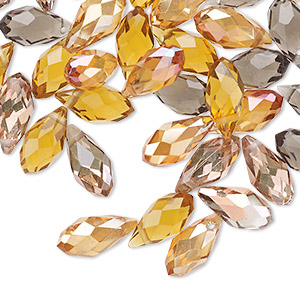 drop mix, celestial crystal, fall, 11.5x5.5mm-12.5x6mm faceted briolette. sold per pkg of 40.