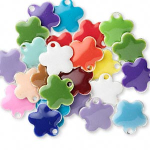 drop mix, epoxy and silver-plated brass, mixed colors, 10x10mm double-sided flower. sold per pkg of 120.