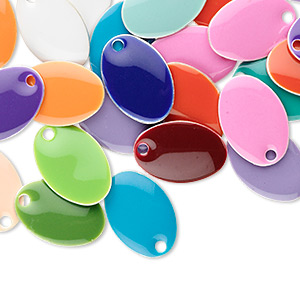 drop mix, epoxy and silver-plated brass, mixed colors, 14x8mm double-sided oval. sold per pkg of 120.