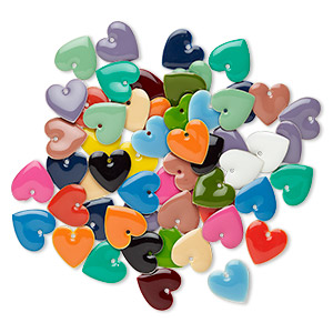 drop mix, epoxy and silver-plated brass, mixed colors, 16x16mm double-sided heart. sold per pkg of 120.