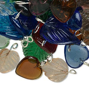 drop mix, glass with gold- and/or silver-finished brass, mixed colors, 9x8mm-23x16mm heart and leaf. sold per 50-gram pkg, approximately 65 drops.