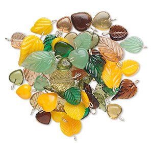 drop mix, glass with silver-finished brass, opaque to transparent green / yellow / brown, 11x11mm-22x15mm double-sided leaf and heart. sold per 50-gram pkg, approximately 50-55 drops.