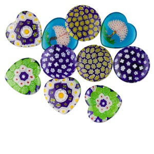 drop mix, millefiori glass, multicolored, 20mm half-drilled round and 20x20mm half-drilled heart. sold per pkg of 10.