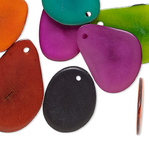drop mix, tagua nut (dyed), mixed colors, 26x20mm-33x24mm flat teardrop. sold per pkg of 10.