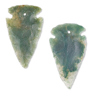 drop, moss agate (natural), 28x18mm-36x26mm hand-knapped arrowhead, b grade, mohs hardness 6-1/2 to 7. sold per pkg of 2.