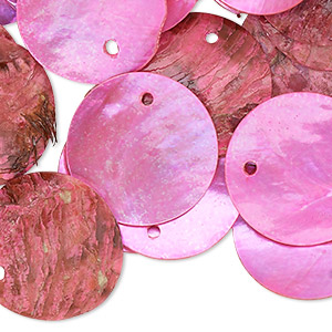 drop, mussel shell (dyed / coated), fuchsia, 20mm flat round. sold per pkg of 25.