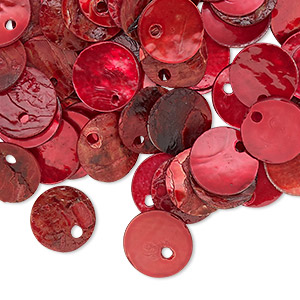drop, mussel shell (dyed / coated), red, 10mm flat round, mohs hardness 3-1/2. sold per pkg of 100.