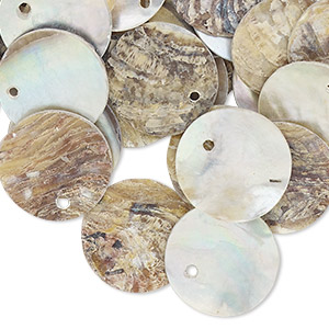 drop, mussel shell (natural / coated), natural, 15mm flat round. sold per pkg of 100.