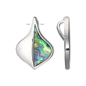 drop, paua shell and imitation rhodium-plated pewter (tin-based alloy), 27x19mm single-sided flat leaf with hidden bail. sold per pkg of 2.