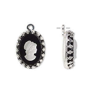 drop, preciosa, czech glass and silver-plated brass, opaque white and black, 16x12mm single-sided right-facing oval cameo with woman. sold individually.