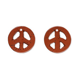 drop, red jasper (natural), 15mm peace sign, b grade, mohs hardness 6-1/2 to 7. sold per pkg of 2.