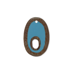 drop, resin and wood (assembled), turquoise blue, 24x16mm double-sided oval with 7x3.5mm hole. sold individually.