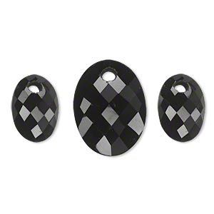 drop set, black onyx (dyed), (1) 20x15mm and (2) 14x10mm hand-cut single-sided faceted domed oval, b grade, mohs hardness 6-1/2 to 7. sold per 3-piece set.