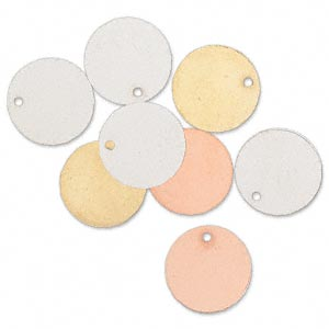 drop, silver- / gold- / copper-finished brass, 15mm double-sided flat round. sold per pkg of 8.