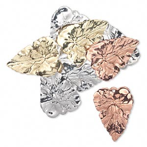 drop, silver- / gold- / copper-finished brass, 26x20mm double-sided leaf. sold per pkg of 8.