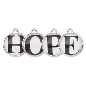 drop, silver-finished pewter (zinc-based alloy) and plastic, black and white, 20mm single-sided domed flat round with hope. sold per 4-piece set.