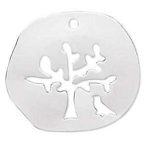 drop, silver-finished steel, 27mm two-sided irregular round with cutout tree and bird. sold per pkg of 2.