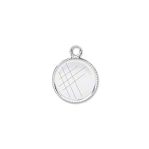 drop, silver-plated brass, 13mm round with beaded edge and 12mm round bezel cup setting. sold per pkg of 12.