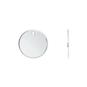 drop, silver-plated brass, 15mm flat round. sold per pkg of 100.
