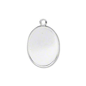 drop, silver-plated brass, 21x16mm oval with beaded edge and 20x15mm oval bezel cup setting. sold per pkg of 6.