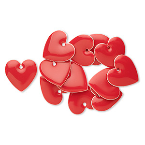 drop, silver-plated brass and epoxy, red, 16mm double-sided heart. sold per pkg of 12.