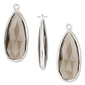 drop, smoky quartz (heated / irradiated) and sterling silver, 27x12mm double-sided faceted teardrop. sold per pkg of 2.