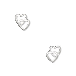 drop, sterling silver, 10x9mm two-hearts. sold per pair.