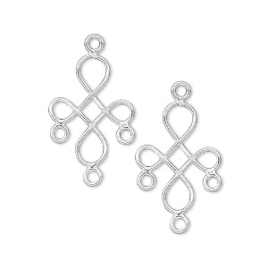drop, sterling silver, 18x14mm wire cross with 3 loops. sold per pkg of 2.