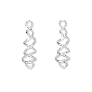 drop, sterling silver, 19x7mm spiral. sold per pkg of 2.