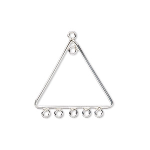 drop, sterling silver, 23x19mm triangle with 6 loops. sold per pkg 2.