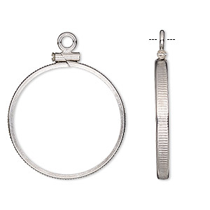 drop, sterling silver, 25mm open round with 24mm screw-fastened flat round bezel setting. sold individually.