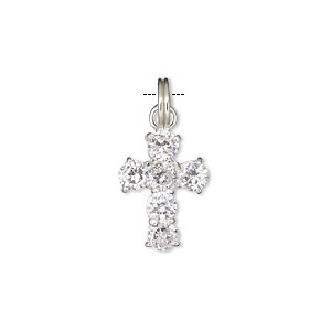 drop, sterling silver and crystal, clear, 19x13mm cross. sold individually.