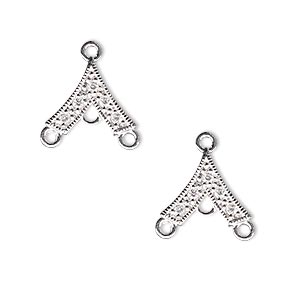 drop, sterling silver and cubic zirconia, clear, 13x12mm single-sided v-shape with 3 loops. sold per pkg of 2.