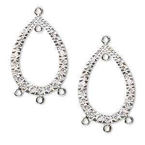 drop, sterling silver and cubic zirconia, clear, 24x17mm single-sided open teardrop with 4 closed loops. sold per pkg of 2.