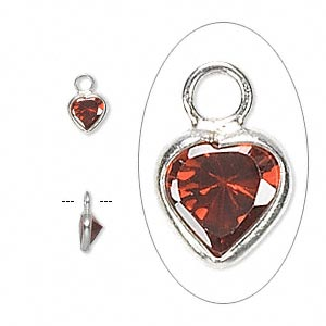 drop, sterling silver and cubic zirconia, garnet red, 5.5x5.5mm faceted heart. sold per pkg of 2.