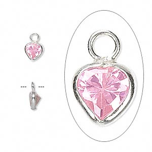 drop, sterling silver and cubic zirconia, pink, 5.5x5.5mm faceted heart. sold per pkg of 2.
