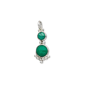 drop, sterling silver and malachite (natural), 4 and 5mm round cabochons, 21.5x8mm. sold individually.