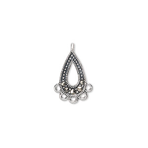 drop, sterling silver and marcasite, 15x8mm teardrop with 5 loops. sold per pkg of 2.